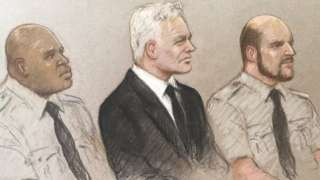 Courtroom drawing (court sketch) of Julian Assange in the dock at the Old Bailey for an extradition hearing on 7 September