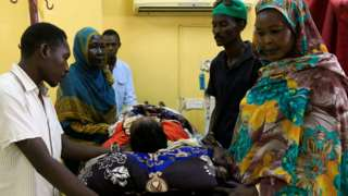A victim of the crackdown being treated in a ward in Omdurman, Khartoum