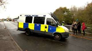 Police van at the Halloween rave in Yate near Bristol
