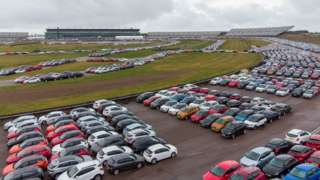 Cars stored at the Rockingham Motor Speedway circuit