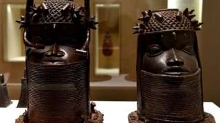 Heads of a Royal ancestor, arts of the Kingdom of Benin of the end of the 18th century are on display on May 18, 2018 at the Quai Branly Museum-Jacques Chirac in Paris