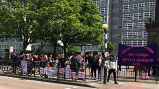 Picket line outside college