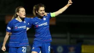 Erin Cuthbert (left) and Karen Carney celebrate Chelsea's second goal