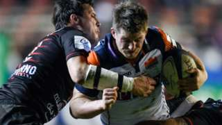 Edinburgh centre James Johnstone takes on the Toulon defence