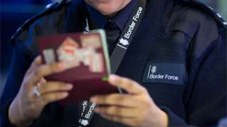 EU passport checked by Border Force officer