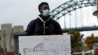 A student with artwork in Newcastle