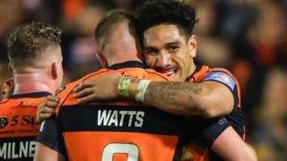 Castleford celebrate victory over Wigan