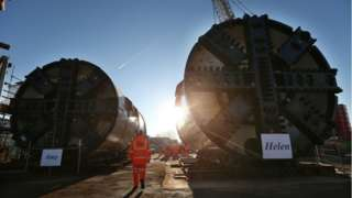 Two boring machines in Battersea