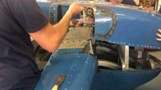 Bluebird being dismantled