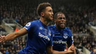 Dominic Calvert-Lewin (left) celebrates scoring for Everton at Newcastle