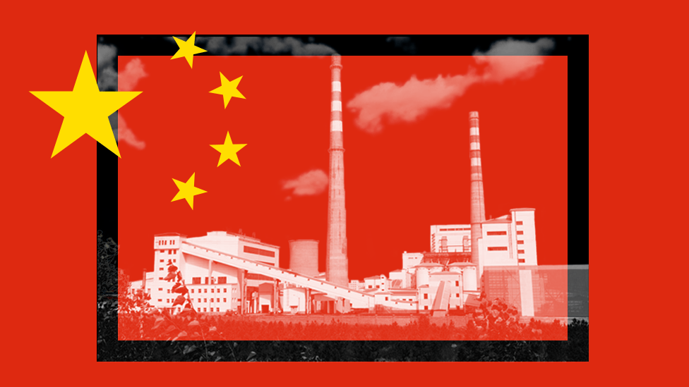 China power station and flag