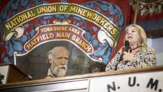 Barbara Jackson, from the Orgreave Truth and Justice Campaign speaks during a press conference at the National Miners Union office in Barnsley, Yorkshire