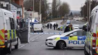 Police at the scene in Queens Cross, Dudley