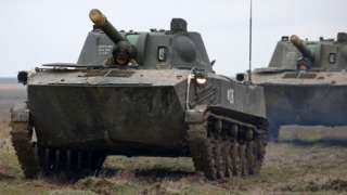 Russian self-propelled guns, Opuk range in Crimea, 19 Mar 21