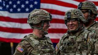 US soldiers from the 2nd Cavalry Regiment of the US Army based in Vilseck, Bavaria, Germany