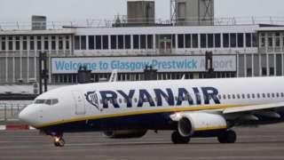Ryanair plane at Prestwick airport