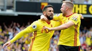 Miguel Britos celebrates scoring Watford's equaliser against Liverpool