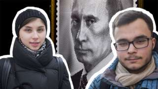 Alya and Ivan with Putin in the background
