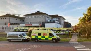 Ambulances outside Royal Cornwall Hospital