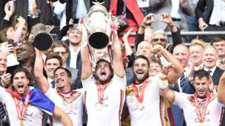 Catalans lift the Challenge Cup trophy