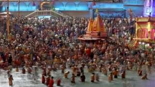 Devotees at the Kumbh Mela
