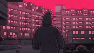 Drawing of gang member outside flats
