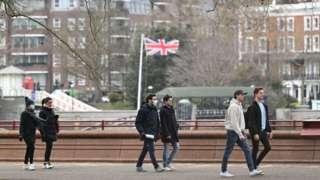 People in London park