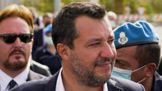 Matteo Salvini leaves court after the hearing
