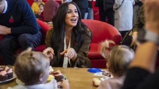 The Duchess of Sussex of Sussex meets military families at Windsor's Broom Farm Community Centre