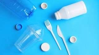 Used plastic disposable tableware.