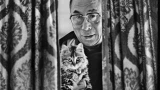 Dalai Lama with his pet cat