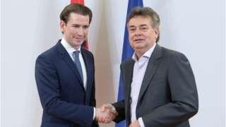 Sebastian Kurz, left, shaking hands with Werner Kogler, right