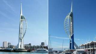 Spinnaker Tower in original white (left) and current blue and gold designs
