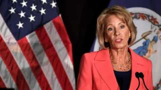 US Education Secretary Betsy DeVos speaks at George Mason University in Arlington, Virginia.