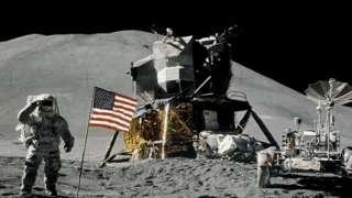 Lunar module on the moon