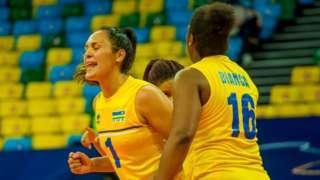 Brazilians Aline Siqueira (left) and Moreira Gomes Bianca in action for Rwanda