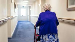 A woman in a care home