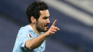 Manchester City midfielder Ilkay Gundogan celebrates after scoring their first goal in their 5-0 win against West Brom