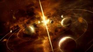 Ilustração do Universo, com planetas e outros corpos celestes, coloridos por tom dourado