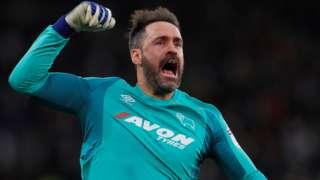 Scott Carson celebrates a Derby goal