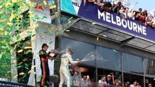 Race winner Valtteri Bottas of Finland celebrates his win at the 2019 Australian Grand Prix