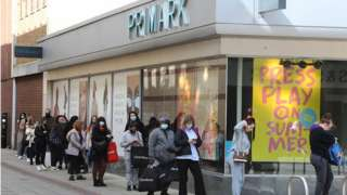 Shoppers queue in Hemel Hempstead