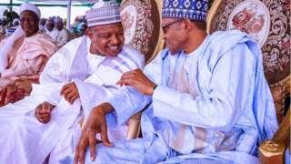 Muhammadu Buhari ati gomina ipin Kebbi, Atiku Bagudu nibi ti iṣẹlẹ naa ti waye