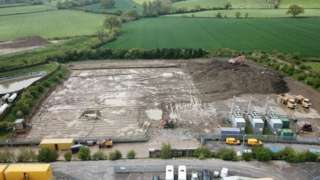 Overhead view of an industrial building site