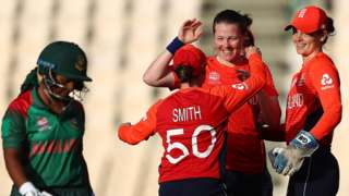 Anya Shrubsole of England celebrates bowling Shamima Sultana of Bangladesh