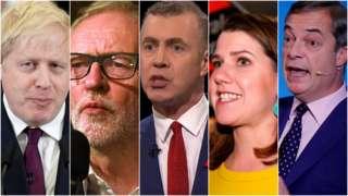 Image showing Boris Johnson, Jeremy Corbyn, Adam Price, Jo Swinson, Nigel Farage