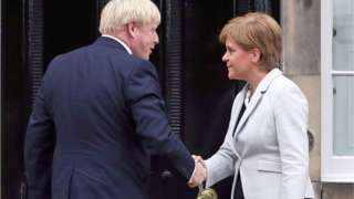 """File photo dated 29/07/19 of Scotland""""s First Minister Nicola Sturgeon welcoming Prime Minister Boris Johnson outside Bute House in Edinburgh."""