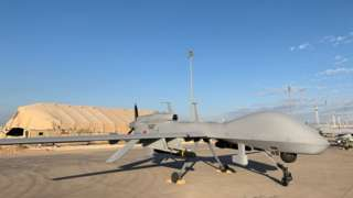 File photo showing US military drone at Al Asad air base in western Iraq (13 January 2020)