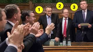 Cheering MPs and 1922 Commitee members