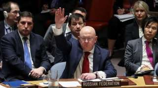 Russian Ambassador to the United Nations Vasily Nebenzya voted in favour of a resolution at the UN security council to condemn a US strike against Syria.